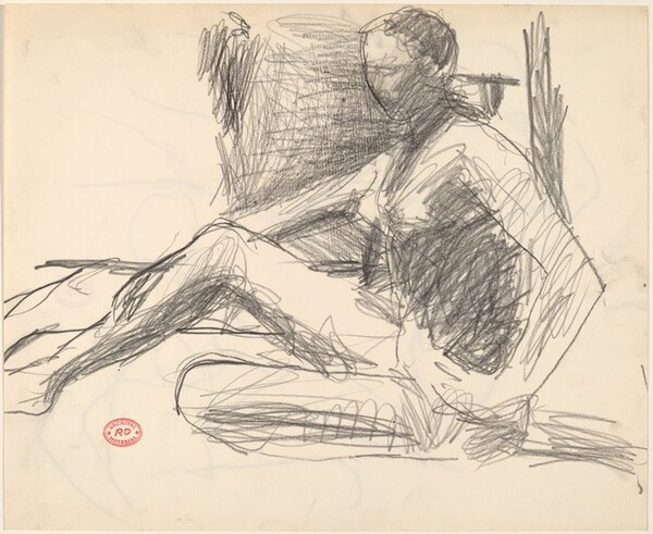 Untitled [study of seated female nude]