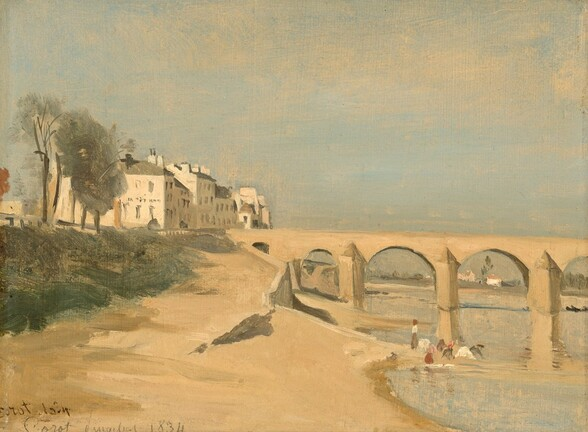 """With the pale blue river to our right, we stand on or hover over a sand-colored riverbank that leads to a similarly colored, sand-brown bridge supported by arches between stocky piers below a hazy blue sky in this horizontal landscape painting. The scene is loosely painted so many details are indistinct. A retaining wall extends towards us from the abutment of the bridge, where it meets the land. About halfway along the shore, a group of people painted with a few strokes of gray, pink, brown, and white gather near the water. The bridge continues off the right edge of the painting and reflects in the rippling, light blue water below. To our left, a bank of fern green, suggesting grasses or other growth, and some trees line the beach-like riverbank. A line of ivory-colored buildings with pewter gray roofs extend into the distance to our left beyond the bridge. More buildings and trees along the horizon line in the deep distance are seen through the arches of the bridge to our right. In the top half of the painting, tan-colored brushstrokes lightly sweeping across the blue sky suggest hazy clouds. Two inscriptions have been written in the lower left corner. In brown ink, one reads, """"Corot 1834."""" Below it, the other is written in pencil: """"Corot Pingebat 1834."""""""