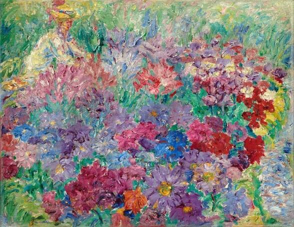 Flower Garden, Kneeling Woman with Hat