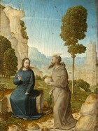 To our right, a man with a long, pointed beard, wearing a fawn-brown, hooded robe, walks toward a second bearded man, to our left, wearing a cobalt-blue robe and sitting on an L-shaped stone slab in front of a deep landscape with trees, craggy cliffs, and pale blue hills in the distance in this vertical painting. Both men have ivory-white skin and brown hair. The man to our right faces our left in profile, and has two sharp, bone-white horns curving back from the top of his head and a claw-like, webbed foot protruding from under the hem of his monk's robe. He has a prominent, hooked nose, sunken eyes, and he seems to look ahead, into the distance. He clutches a strand of large beads hanging from his waist with his right hand, farther from us, and holds a round, loaf-sized stone in his opposite hand. The body of the seated man, to our left, faces us but he turns to look off to our right with dark eyes. His left hand, to our right, rests in his lap and his opposite hand is raised, palm facing the walking man. Rocks and boulders lie on the ground around and between the men. Behind them, a grassy meadow dotted with tiny white flowers slopes downward to a line of trees with olive-green leaves, tucked beyond the hill. One tall, spindly tree grows behind the horned man and a bird perches, wings spread, on the top. One steep, rocky cliff rises behind the seated man, to our left. Two strokes of light blue and pale beige suggest people standing atop the cliff. Beyond, a city with tan-colored stone buildings and blue mountains are hazy in the distance. Atop a tower in the city, the pair of men appear again, with the man in brown gesturing downward and the man in blue looking on. Three more birds fly across the sky, which deepens from a misty white near the mountaintops in the background to an azure blue along the top edge of the panel. The surface of the painting has visible long, mostly vertical cracks throughout.