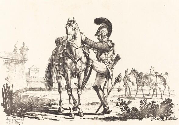 Carabinier Mounting a Horse