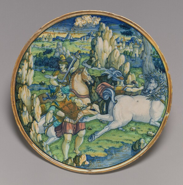 Flat plate with a battle scene