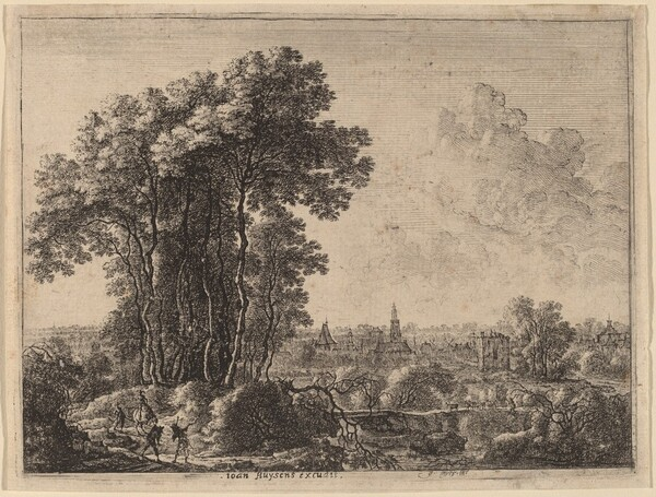 Landscape with Horseman and Three Travelers