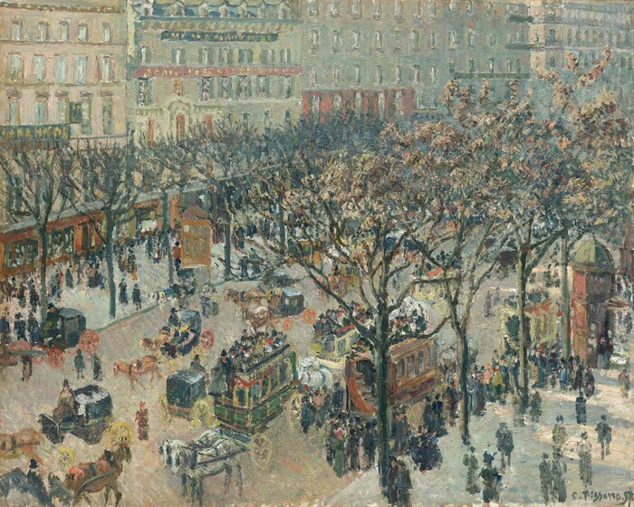 """We seem to look down, as if from a building, onto a wide, bustling, tree-lined avenue filled with buildings, people, and horse-drawn carriages in this horizontal painting. Muted, warm browns, sage green, slate blue, and brick red dominate the urban scene, which is loosely painted with short and long dotted brushstrokes so some details are difficult to make out. The street extends diagonally up from our lower left with wide gray sidewalks on either side, which are lined by slender trees sparsely dotted with brown leaves. Dozens of pedestrians meander individually, in pairs, and in small groups on the sidewalks in what appears to be heavy outerwear and hats. Opposite us, multi-storied buildings with store fronts at street-level stretch across the width of the canvas. Rows of windows line the facades. The buildings are densely spaced and sometimes connected to each other with the exception of some openings for what could be cross streets or pedestrian alleys. Horse-drawn carriages move in both directions on the street and two omnibuses have pulled to the curb closest to us, where passengers have lined up. Two brick-red, hexagonally shaped kiosks stand opposite each other on either side of the street about halfway along the boulevard. Sunlight filters onto the scene, creating a dappled effect in some areas, especially over to our right. The artist signed and dated the painting in dark green in the lower right corner: """"C.Pissarro.97."""""""