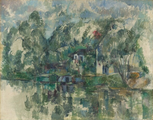 We seem to stand on an opposite bank looking across a body of water at two houses, some smaller outbuildings, and a houseboat along the opposite bank in this horizontal landscape painting. Painted with thin, loose strokes of moss and pine greens, pale topaz and denim blues, and black, many of the details are indistinct. The cream-white houses have dark roofs and are nearly engulfed by tall, luxuriant trees that reach nearly to the top of the canvas. Fog-gray clouds float against a watery blue sky above. The green of the trees is reflected in the water below, where some of the canvas remains unpainted, especially in the lower left corner. A crimson red blotch appears over the houses.