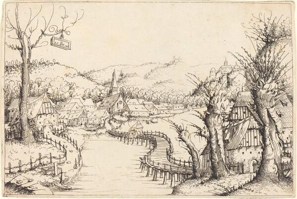 River Landscape with Wooden Bridge
