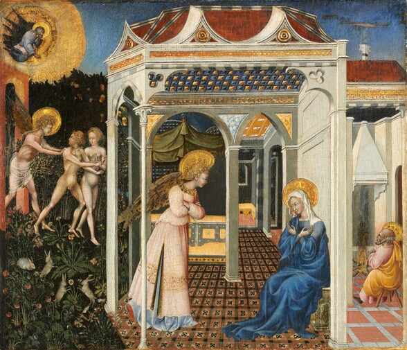 This nearly square painting is visually divided into three vertical zones, with a pergola-like structure occupied by two people at the center taking up the most space, and narrower scenes to either side. The central structure has a shallow roof and several types of arched openings—some rounded and some pointed, all of different sizes. A winged person to the left under the structure has curly blond hair and wears a shell-pink, floor-length garment. A seated woman to the right wears a lapis blue dress and a white head covering. She sits with her forearms crossed over her chest, her hands in front of her shoulders. Both have plate-like gold halos. Two arched openings at the back of the structure lead into rooms beyond. In the left quarter of the painting, a nude man and woman are pushed through an arched gateway by a winged and haloed person. A bearded, haloed man looks down from a gold cloud above. Forest green trees line the garden at the back and flowers and rabbits fill the space around the people's feet. To the right, a balding, bearded man warms his hands at a fire in a room beyond the central structure. He wears rose pink and has a gold halo. All the figures have white skin tinged in some areas with pale green.