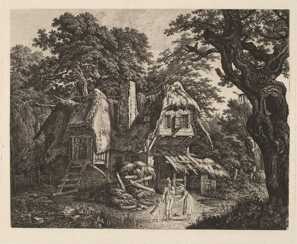 Straw-Thatched Hut with Landscape and Figures
