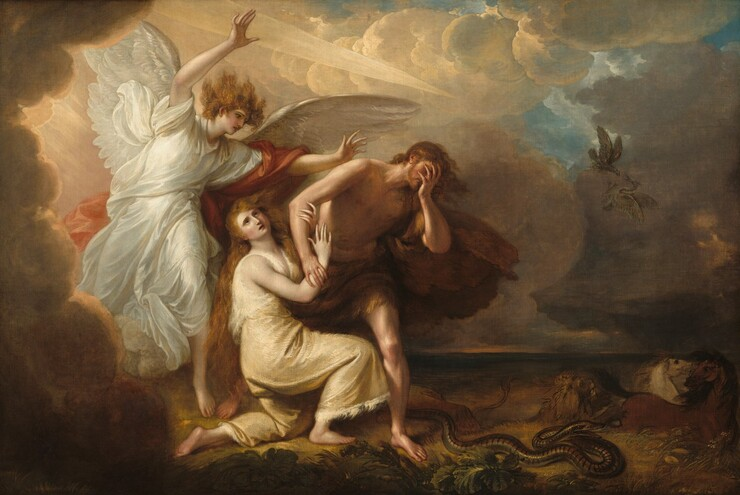 In the left half of this horizonal composition, a winged angel gestures with arms raised over a man and woman being forced away from a bank of clouds set against a flat and barren landscape. The angel, man, and woman all have pale skin. The blond angel is dressed in a flowing white robe with a coral drape that hangs over one arm and billows behind. Kneeling in front of the angle, the woman wears a garment like a toga that appears to be made from an ivory-colored animal skin. Her long auburn hair falls in waves around her shoulders and she looks up to the sky, her mouth open. She kneels with her body facing our right, and she grasps the man's right arm, closer to us. The man wears a chestnut colored fur garment around his hips and he covers his face with his opposite hand. His brown curls and the animal skin blow in the wind. Gold and cream colored clouds envelop the angel to our left and give way to the shadowed landscape to our right. A dagger-like spear of light thrusts out of the clouds from above the angel, towards the man and woman. Thistles grow close to us in the foreground and to our right, a stripped serpent lifts its head and flicks out its tongue. A lion attacks two horses beyond the people and snake, and in the sky above, an eagle swoops down on a heron. The landscape gives way to a navy-blue horizon line, perhaps indicating a body of water. Small patches of blue sky appear through breaks in the clouds.