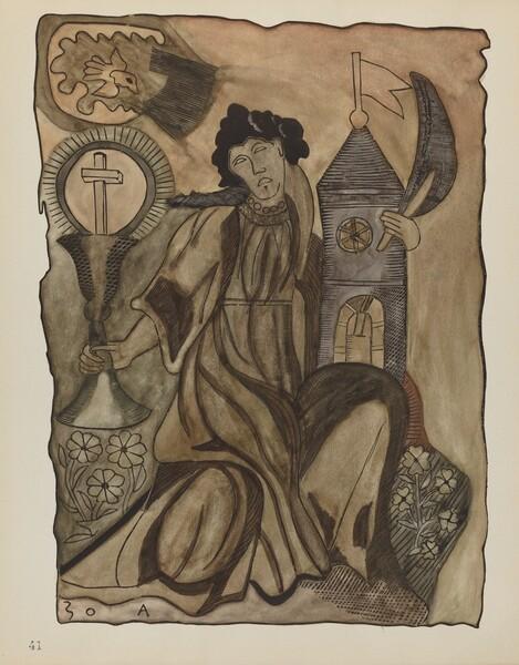 Plate 41: Saint Barbara: From Portfolio Spanish Colonial Designs of New Mexico