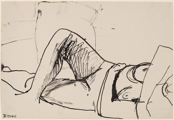 Untitled [nude reclining and crossing her legs]