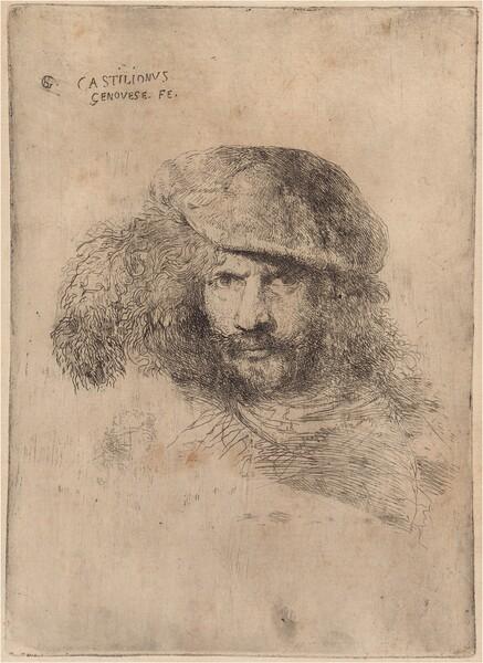 """<p>Giovanni Benedetto Castiglione, Self-Portrait(?), Wearing a Plumed Cap [""""Portrait of Bernini""""], c. 1645/1647"""