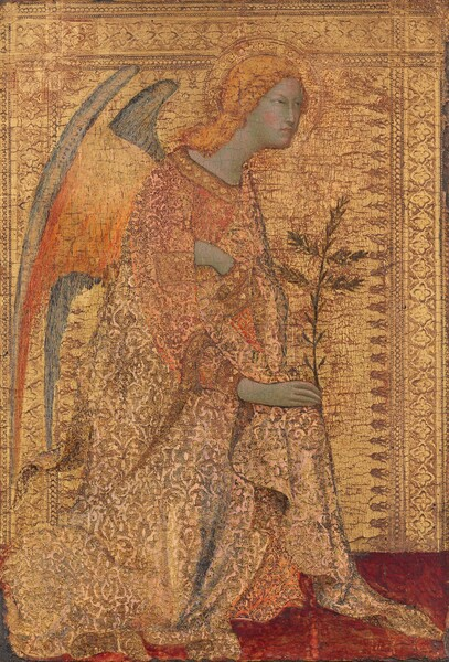 A winged, blond angel kneels facing our right in profile wearing a gold garment and shown against a gold background in this vertical painting. The textured robe the angel wears is a similar color to the background, and with the golden hair and wings, the painting is dominated by the color gold. The angel's pale skin has a greenish cast but the cheeks are rosy. Blond hair is bound back around the face but falls over the shoulders. The angel looks to our right with slitted eyes over a long, straight nose and pale pink lips are closed. The hand farther away from us is drawn across the chest and tucked under the arm closer to us, with which the angel holds a tall leafy palm frond. The inside surface of the wing facing us fades from butter yellow to tangerine, and where it curves over along the upper edge, the wing is lapiz blue. The robe is textured with swirls and the gold is highlighted with a few areas of slate blue for shadows and rose pink on the sleeves. A gold halo encircles the angel's head and the gold background is textured with an ornate decorative border along the top and both sides. The floor beneath the angel is ruby red. The gilding has worn away in some areas, especially in the background, so the red ground beneath is visible through cracks.