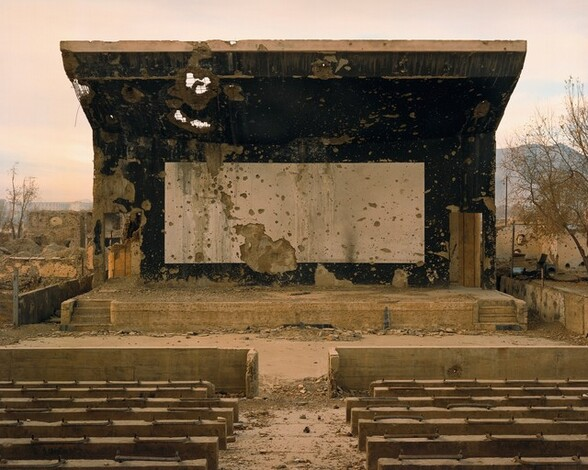 Bullet-scarred outdoor cinema at the Palace of Culture in the Karte Char district of Kabul.