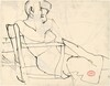 Untitled [seated woman resting against a chair back]