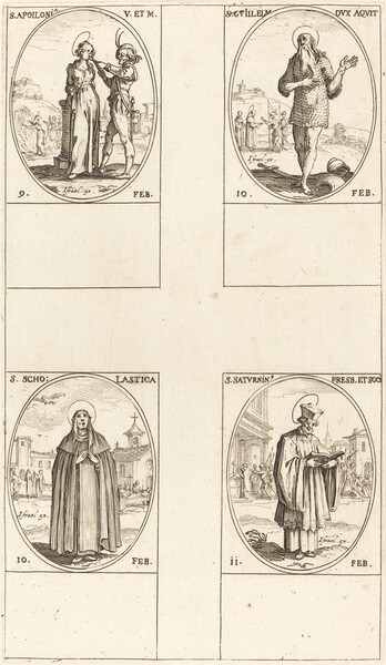 St. Apollonia; St. Guillaume; St. Scholastica; St. Saturnin