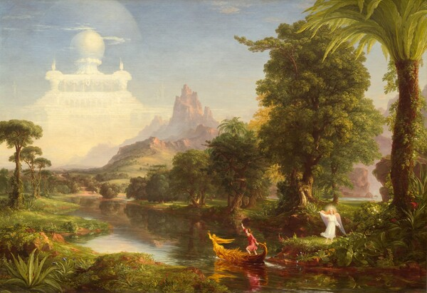 A young man sets out in a golden boat on a river that winds from the bottom right corner of this horizontal painting across a lush landscape and into the distance before disappearing beyond two rocky outcroppings far off to our right. Hazy in the distance, the jagged peaks of a barren red mountain rise into an almost cloudless blue sky. To our left, a semi-transparent, white palace looms above and beyond the mountain, filling most of the upper left quadrant of the composition. Hills and valleys dotted with trees and carpeted with grass ease the eye down from the mountain and palace into the foreground. A winged and haloed angel wearing a white robe stands on the bank of the river under a towering palm tree in the foreground, in the bottom right corner of the canvas. The angel has pale skin and long golden hair, and they raise their right hand, perhaps towards the palace or a young man in a boat in the river nearby. The small boat is angled away from the riverbank to our left and towards the palace. It is ornately decorated and at its bow, a winged, golden figure holds an hourglass aloft above her head. The young man has pale skin, shoulder-length brown hair, and he wears a red and gold tunic. A profusion of flowers and trees line the riverbank.