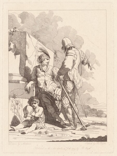 Two Soldiers and Child Holding a Helmet