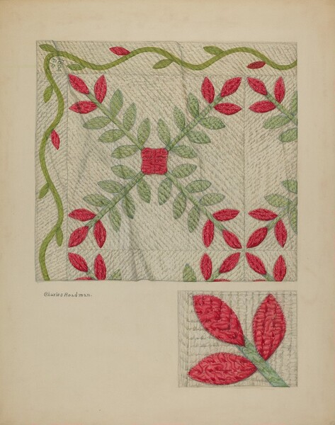 Quilt (Red and Green Leaves)