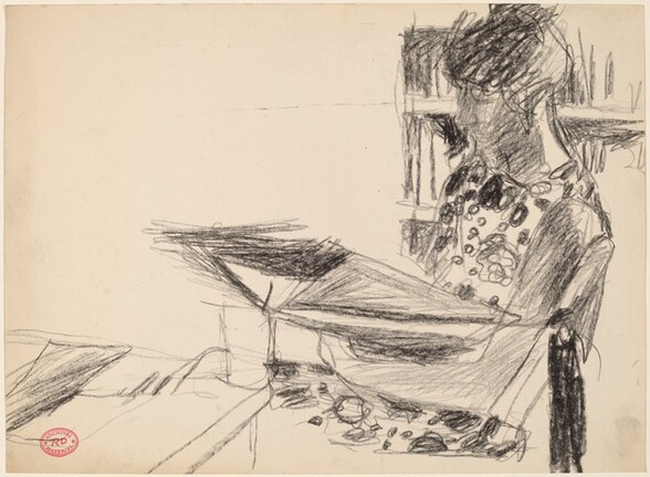 Untitled [seated woman reading]
