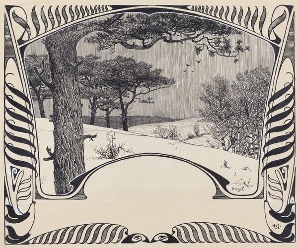 A Winter Landscape Within a Jugendstil Border