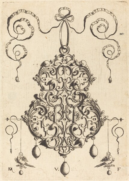 Strapwork Pendant with Two Birds as Earrings at Left and Right