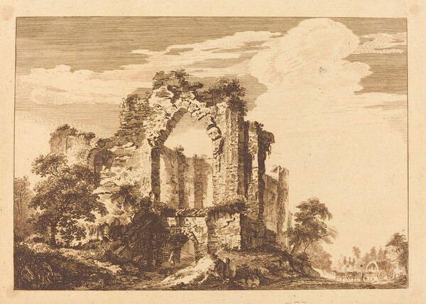 Ruins with a Seated Man, and a Covered Wagon in the Distance