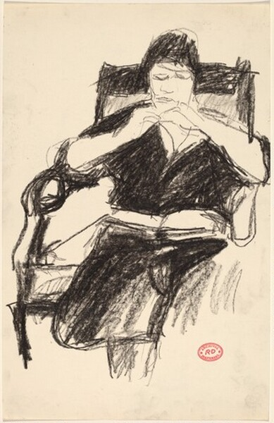 Untitled [seated woman with book in her lap]