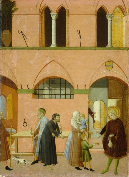Enclosed within the pale, coral-colored stucco walls of a courtyard, a family group and three men wait their turn to approach a man with a gold halo standing in the lower right corner, who holds a bag of money and reaches out a hand to drop coins into a bowl held by a small boy in this vertical painting. All the people have pale skin except for one man, to our left, with a swarthier complexion. The cleanshaven man to our right, Saint Anthony, has short blond hair, and he wears a gold-trimmed burgundy cloak and pale-green hose. His disk-like gold halo has a band of rings near its perimeter. In his left hand, closer to us, he holds a bulging, ivory-white, cloth purse by its strings, as he offers coins with his right. The boy receiving the offering is small and fair-haired, dressed in a spring-green cloak, with yellow hose and black shoes. He stands next to a woman wearing a patched, caramel-brown dress and a cream-white veil over her head, neck, and shoulders. She holds a fair, blond infant wearing sky-blue. Another woman, stooped with age, hair also veiled, stands with them. Behind this group and to our left, also awaiting alms, is a curly-haired, darker-complected young man with a sparse beard, in a fraying black robe. His chemise pokes through a hole in his right sleeve and he leans forward as if unsteady on his bare feet, perhaps about to cough into the cloth in his left hand. Behind him a taller, older man, hair and beard white with age, is apparently departing; he walks toward our left with his eyes closed, steadied by a staff and led by a small black and white dog on a rope. He wears a green cap, topped with black fur, a pale-blue cape over a brown robe. His finery, like the clothes of all the supplicants, frays at the bottom. A bearded man with a darker, olive complexion enters the scene from our left, walking staff in hand, clad in a turban-like cap, a brown robe and black shoes. Through an open, arched doorway to our right, beyond the alms-giving saint, a se