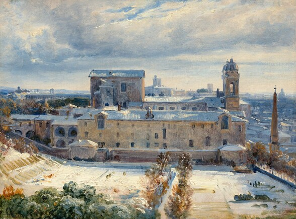 We look across a snow-covered field at the long side of a pale, parchment-colored building with a town beyond in this horizontal landscape view, painted loosely and mostly in tones of icy blue, cream white, and golden tan and brown. Closest to us, a hedge of moss-green treetops lines the sun-drenched, ivory-white field. The field slopes up to our left and a path, between two rows of cinnamon-brown trees, leads from the bottom center of the painting to the building. Four stories of mostly rectangular windows pierce the wall of the building in front of us. Shadows on the snow-covered roof are painted with thick strokes of steel blue. On the other side of the building, a second long roofline runs parallel to the first. The short side of the building, to our right, has a tower at each corner. A fawn-brown obelisk topped by a cross, like a tapering, pointed column, stands in front of the building façade, and reaches almost as high as the domed roof of the tower closer to us. Stacked and overlapping rooflines, painted broadly in denim and silvery gray, fade toward the distant horizon, which comes halfway up the canvas. A blanket of white clouds with arctic blue bottoms sweep across the sky, revealing only a few small patches of blue sky beyond. The view is painted with visible brushstrokes, so some of the details are indistinct.
