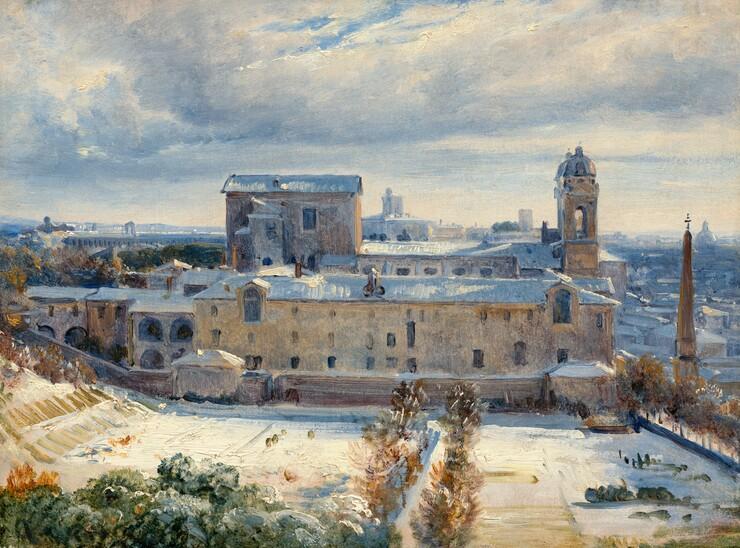 André Giroux, Santa Trinità dei Monti in the Snow, 1825/1830