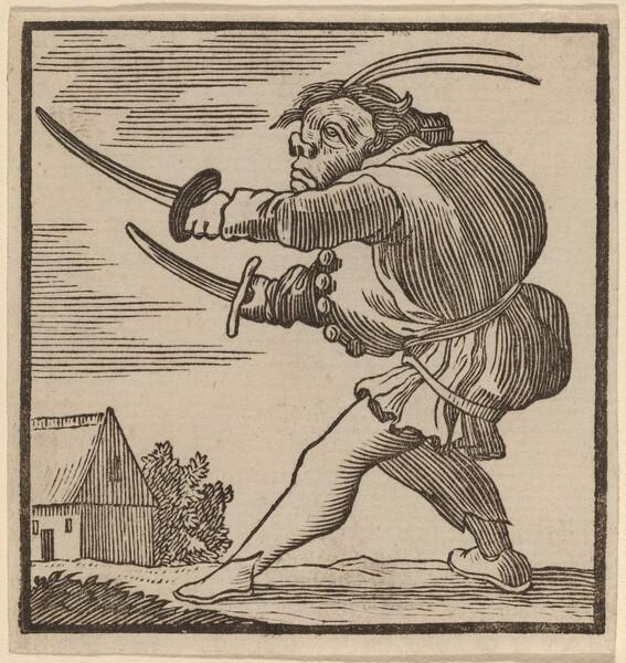 Hunchback Brandishing Two Swords