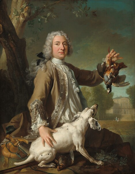 Sitting on a rock and seen from the lap up, an elegantly dressed, light-skinned man with long, curling white hair pulled back with a black silk bow holds up a partridge by one leg in one hand and rests the other on the dog next to him on the rock with the other, in a landscape with trees and a stone manor in this vertical portrait painting. The man's legs angle away from us to our right, and he turns his torso to look at us with brown eyes under dark brows. His nose has a bump near the bridge and his full rose-pink lips are closed. His rounded cheeks are slightly flushed and he has a bit of a double chin. His hair curls around his face from a widow's peak on his forehead, and locks fall down his back. His white shirt is pleated vertically across the front below a high collar, which wraps around his neck. Lace lines the front of the shirt down the chest and the cuffs at the end of puffy sleeves. His camel-brown jacket is lined with topaz-blue and edged with silvery lace around the buttons down the front where it falls open over his chest, and at the unbuttoned cuffs. His brown pants are lost in shadow beyond the rock on which he sits. In his raised left hand, on our right, the partridge dangles from one red leg, its fawn-brown wings spread and its head hanging back. By the man's right side and closer to us, the dog is white with a few black spots. It has large floppy ears and a short tail. It crouches on its hand legs, angled to our left, and braces itself on its front paws, looking up at the bird. A second dead bird lies on the rock under the dog's poised body. A few tufts of plants and grasses grow out of the rock next to the dog's front feet, and behind the dog and man is a fawn-brown sack and a cylindrical vessel with a spout, a powder horn. Two trees grow beyond the rock, up the left edge of the canvas. To our right, in the distance, two women talk near a low wall. One wears an aquamarine-blue dress and gestures with arm outstretched to our left, and the other, 