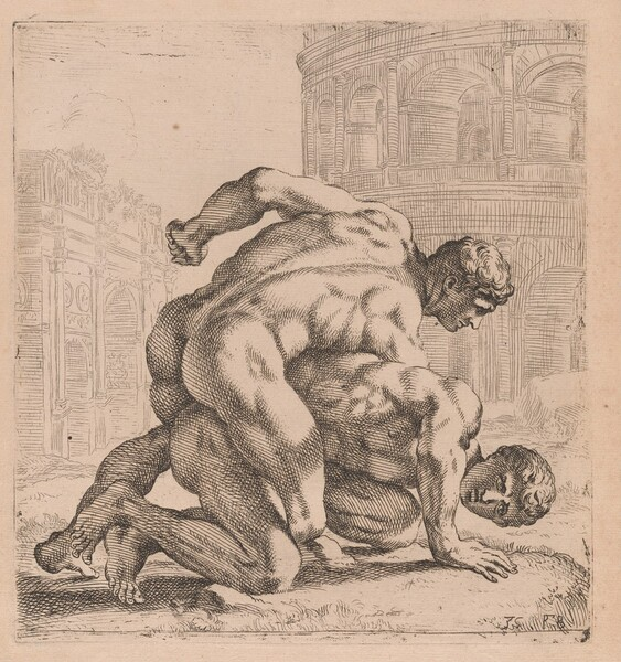 The Medici Wrestlers, side view, turned to right [plate 35]
