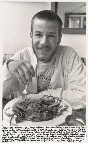Geoffrey Manough, day after 18th birthday, Poet visiting New York from College Chapel Hill, North Carolina, pasta salad on 1st ave. I feel like I could Walk / into a forest / and start a fire with every footprint / ...I have found a me long buried / beneath sludge, gripe, and scabs / beneath discrimination and self-hate. / All devices aside, / I can now say that the race is won. / I