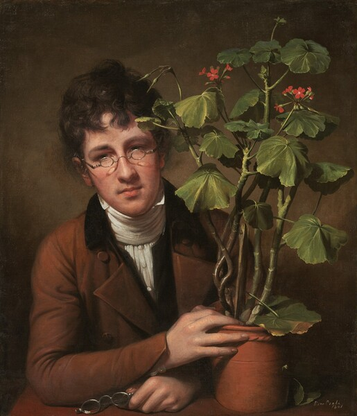 """A young man seen from the waist up behind a tabletop takes up the left half of this vertical portrait, and a geranium in a terracotta pot takes up the right half of the composition. The man has pale peach skin and dark brown hair. He wears a pair of glasses with small oval lenses, a white neckcloth, and a brown coat. He looks down and to our left. He holds a second pair of silver-rimmed glasses in his right hand on the table, and his left hand, on our right, rests on the edge of the terracotta pot. The tall, leggy geranium nearly reaches the upper edge of the canvas and has two clusters of small red flowers near its top. The young man and plant are shown against a tawny brown background. The artist signed and dated the painting in white letters in the lower right corner: """"Rem Peale 1801."""""""