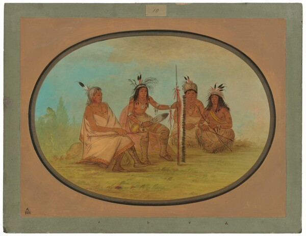 An Aged Ojibbeway Chief and Three Warriors