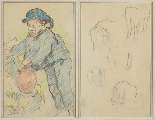 A Breton Boy with a Jug; Five Animal Forms [verso]