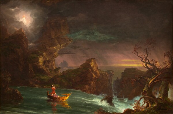A man looks up as he kneels with his hands clasped in prayer in a small golden boat on a river that rushes towards craggy rocks in this horizontal landscape painting. The man has white skin, dark brown hair and beard, and he wears a crimson red tunic. Like a figurehead at the front of the gold boat, a winged figure holds up an hourglass. The boat sails to our right, away from calm waters to the left towards whitewater rapids along the right edge of the composition. A ridge of tall, jagged brown, moss-covered rock lines the water's edge to our left and it channels the water on the opposite side of the river. A barren, blasted tree twisting up from the lower right corner seems closest to us. The river passes off the right edge of the canvas and calm waters beyond extend into the distance. The horizon line comes just under halfway up the composition. Bands of golden yellow break through the deep mauve sky near the horizon line to our right. Diagonal plum purple streaks suggest falling rain in the distance. A white glow in the upper left corner emanates around a person with long reddish blond hair and white skin, who looks down at the man in the boat. That person wears a white garment and a golden star shines at the forehead. Smudges of fog blue in the sky above the man first read as clouds but upon closer inspection, the cloud-like forms contain the faces of three bearded men.