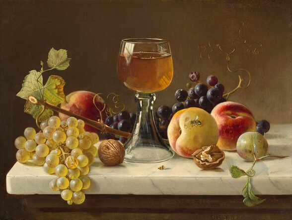 Marble Tabletop with Fruit and Wineglass