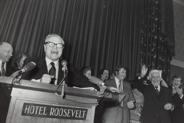 Nelson Rockefeller, Republican Headquarters on Election Night of Nixon Landslide, New York City