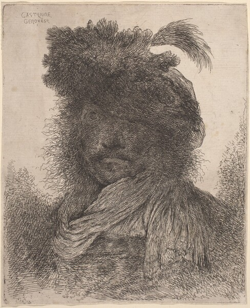 Bearded Man with Shadowed Face, Wearing a Scarf and a Plumed Hat