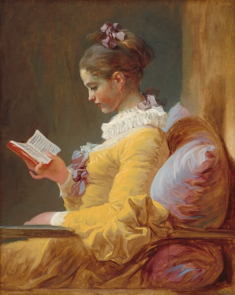Seen from the lap up, a young woman with creamy white skin wearing a goldenrod-yellow dress sits reading a small book, facing our left in profile in this vertical painting. The deep, scooped neckline of her rich yellow gown is edged with lace and decorated with a mauve-colored bow at the bust. Her chest is covered by sheer white fabric under a ruffled, pleated collar. The ruff is tied at the back with a mauve bow, which is the same color as the bow that ties up her chestnut brown hair. She has a delicate nose and rosebud mouth, and she tips her head down to read the book she holds. She sits against an oversize pillow painted with pale lilac and deep rose-pink. Her left arm, closer to us, is draped over a railing that extends across the width of the canvas. The space behind her is indistinct. She sits before a teal-colored wall and a strip of light caramel brown to the right suggests another wall against which the pillow rests. The artist's loose, lively brushstrokes are visible throughout.