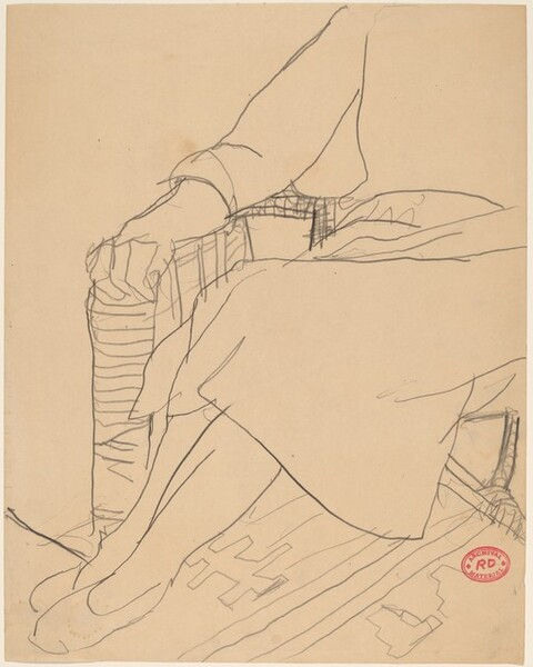 Untitled [study of hands, legs, and dress of a seated woman]