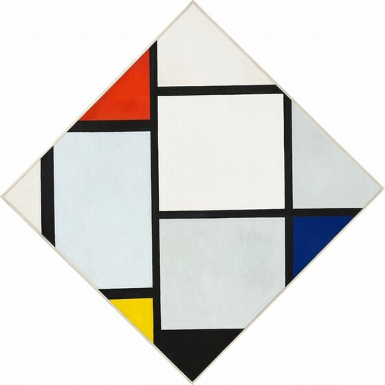 """This abstract square, geometric painting has been tipped on one corner to create a diamond form rather than a square. The surface of the canvas is crisscrossed by an irregular grid of black lines running vertically and horizontally like offset ladders. The black lines create squares and rectangles of different sizes and the width of the lines vary slightly. One complete square sits at the center of the composition and is painted white. Other rectangles are incomplete, their corners sliced by the edge of the canvas and each is a different shade of white with hints of pale blue and gray. The black grid creates triangular forms where it meets the angled edge of the canvas in some places, and some of these are filled with flat areas of color. A tomato red triangle is placed to the left of the top center point, a vibrant yellow triangle appears to the left of the lower center point, a black triangle is next to it at the bottom center, and a cobalt blue triangle is situated just below the right point. The painting is signed with the artist's initials at the lower center: """"PM."""""""