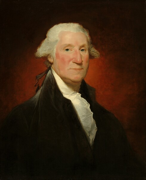 Seen from the chest up, an older man with ivory-colored skin, wearing a high-collared black coat and a cream-white, ruffled collar, is shown against a deep wine-red background in this vertical portrait painting. His body is angled to our right and he turns his face to look at us with gray eyes under pale gray eyebrows. He has a hooked nose and jowls along his chin line. His cheeks are flushed and he his lips are pursed and turned slightly downwards at the corners. His white hair flares out along the sides of his head and is tied at the nape of his neck with a ribbon loosely painted and outlined with black. His ink-black coat has silvery gray highlights along the high collar and his right shoulder, to our left. The background is painted with light brushstrokes to create an aura-like effect, deepening from scarlet around his face to somber black at the upper corners.