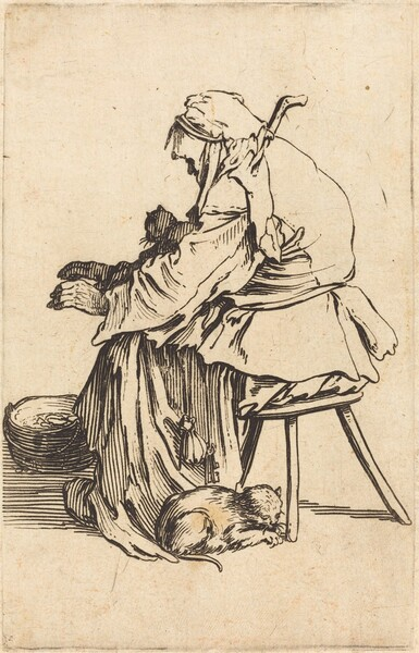 Old Woman with Cats