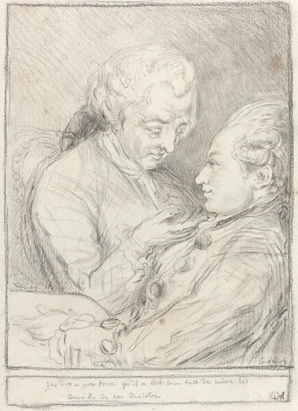 Portrait of the Artist with His Younger Brother, Augustin Saint-Aubin
