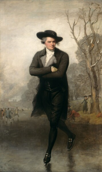 A man with pale skin, wearing a black suit and hat, glides towards us on ice skates in this vertical portrait painting. The man's body faces us but he turns his head to his left, our right, and looks slightly down and off into the distance. His arms are crossed over his chest and he balances on his right skate, the other toe pushing him forward. His gray hair is pulled back under his wide-brimmed hat, which may have a buckle or other ornament at the front center of the crown. A curl along his left cheek escapes and is lifted by the breeze. He has dark eyes, a straight nose, his wide mouth is closed, and he as a cleft in his chin. He wears a high-necked white shirt and cravat under his black, fitted, knee-length jacket. The wide gray lapels lay open, and may be lined with fur. The wrist of one ivory-colored glove is visible where he tucks his hand into the opposite elbow. His knee-length breeches have a buckle at the knee we can see, and he wears black stockings and black shoes with silver buckles. The blades of the skates seem to have been tied onto his shoes. The blades leave curving marks on the ice, which is painted with silver and iron gray. The horizon line of the landscape behind him comes about a third of the way up the canvas. A knot of skaters and buildings and trees beyond are hazy in the distance to our left. A few people stand along the water's edge near a leafless tree to our right. The steely sky is nearly white around the man and deepens to nickel gray along the top edge.