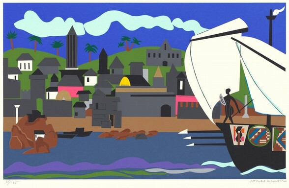 Using mostly geometric shapes of vibrant, flat colors, this stylized horizontal landscape shows buildings lining a harbor across from us, with a sailboat entering the scene from our right. The top quarter of this print has a band of pale turquoise representing clouds against a vibrant cobalt blue sky. The buildings on the shore across from us are mostly nickel or slate gray with black squares and rectangles for windows and doors. A few of the buildings are white and two are bubblegum pink. One arched, sunshine yellow form at the center of the composition could be an opening or a domed roof. One gray building, in front of the yellow, has a band and roof picked out with glittery gold. Several palm trees grow atop the spring green hills beyond the buildings. A band of caramel brown near the water could be a sandy beach. Lumpy brown forms could be rocks in the water near the shore. The waterway is denim-blue with a few bands in grape purple, light gray, the spring green of the hills, and turquoise of the clouds, perhaps representing reflections or the ripples of water around the boat. Billowing white sails seem to pull the boat into the image. A person silhouetted or represented in black holds a shield and spear at the bow. Three long black sticks with white arrows at the end, perhaps more spears or paddles, protrude from the front of the ship and the side is decorated with several shield-sized panels.
